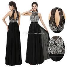 long prom dresses 2017 a line black evening dresses beaded jewel