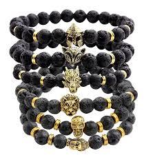 black bead bracelet men images Jovivi jewelry 6pc men women 8mm mix style gold plated jpg