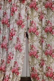 vintage roses print rayon barkcloth curtain panels shabby cottage