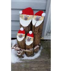 4 log santa family decoration rustic decor