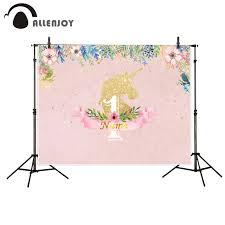 backdrop photography allenjoy photography backdrop unicorn pink flower birthday theme
