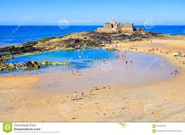 St Malo France Map by Sand Beach In St Malo On Emerald Coast Brittany France Editorial