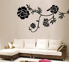 Black And White Flower Wall Decal Wall Mural With Brown And White - Flower designs for bedroom walls