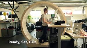 Office Desk With Wheels Hamster Wheel Standing Desk Burn Calories Two Versions