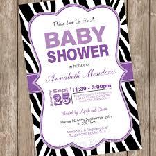 baby shower invitation purple and black zebra baby shower