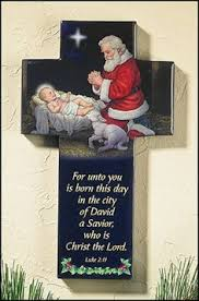 santa kneeling at the manger santa and the child clipart collection