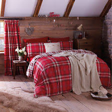 Red And Cream Duvet Cover Checked Bedding Sets And Duvet Covers Ebay