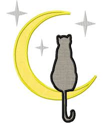 cat in the moon includes both applique and fill stitch for gold