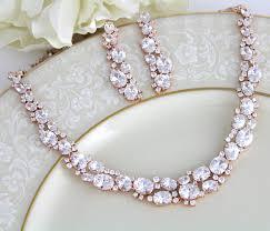 gold chunky necklace images Rose gold necklace set crystal bridal necklace rose gold jpg