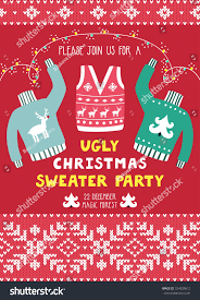 Sample Invitation Card For Christmas Party Vector Invitation Template Ugly Sweaters Scandinavian Stock Vector