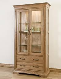 marseille solid french oak furniture glazed display cabinet