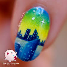 piggieluv starry night glow in the dark nail art hpb linkup