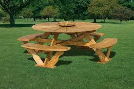 Wooden Picnic Tables With Separate Benches Wood Picnic Table With Separate Benches Best Tables