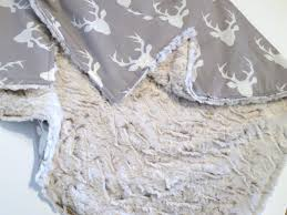 Baby Deer Nursery Minky Baby Blanket Deer Stag Head Grey And White Cream
