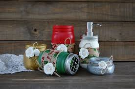 christmas mason jar bathroom set holiday bath decor shabby chic