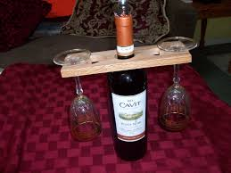 wine bottle and 2 glass display holder