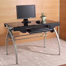Modern Office Table With Glass Top Computer Table Stands For Small Office Office Architect