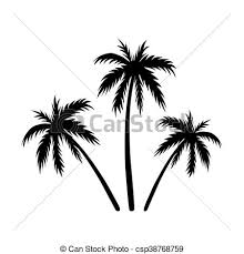 three palms sketch black coconut tree silhouette isolated