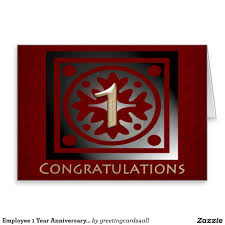 employee 1 year anniversary elegant golden red greeting card