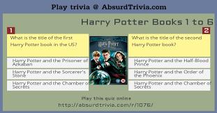 harry potter books 1 6 quiz