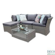 Outdoor Rattan Corner Sofa 5pc High Back Modular Corner Rattan Garden Furniture Deco Alfresco