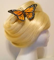 butterfly hair clip large monarch butterfly hair clip feather yellow to