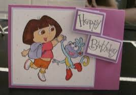 Card Making For Children - dora the explorer happy birthday a2 birthday card handmade kids