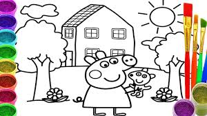 how to draw peppa pig coloring pages drawing for children