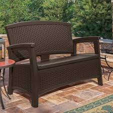 Patio Loveseats Suncast Elements Loveseat With Storage Dark Taupe Patio Loveseats