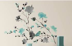 room mates deco blossom watercolor bird branch wall decal default name
