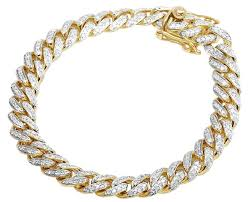 bracelet chain gold man images Jewelry unlimited 10k yellow gold men 39 s miami cuban diamond 9mm jpg