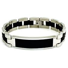 personalized bracelet stainless steel engravable black rubber id bracelet