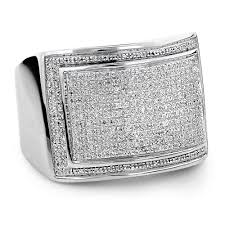 silver ring for men mens silver ring with diamonds 0 86ct