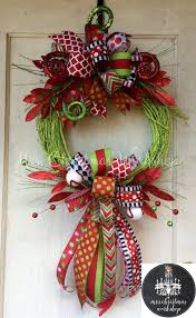 Decorate Christmas Grapevine Wreaths reserved this is a beautiful whimsical christmas funky bow wreath
