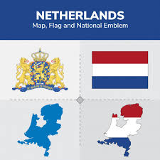 netherlands map flag netherlands map flag and national emblem vector premium