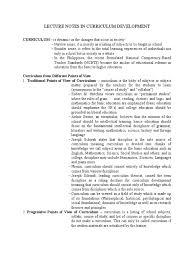lecture notes in curriculum development curriculum humanistic