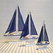 blue wooden saling ship model mediterranean style boat ornaments