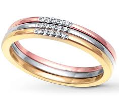 tricolor ring 3 tri color white and yellow wedding ring band for