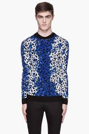 Blue Leopard Print by Versus Mottled Blue Leopard Print Sweater In Blue For Men Lyst