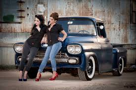 Classic Chevy Trucks Models - women women with cars couple model car jeans old car