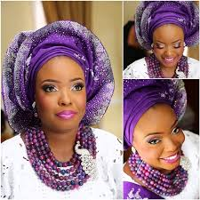 african make and asooke hair styles purple silver sparkly gele nigerian bride wedding latest african