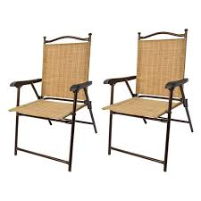 Black Patio Chairs Sling Black Outdoor Chairs Bamboo Set Of 2 Walmart