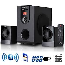 mini home theater system audio docks and mini speakers befree sound 2 1 channel surround