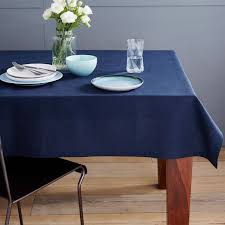 navy blue table linens belgian flax linen tablecloth west elm