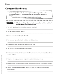 compound predicates 6th 8th grade worksheet lesson planet