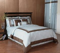 Blue And Brown Bed Sets Blue And Chocolate Hotel Spa Collection Duvet Cover 6 Pc Bedding