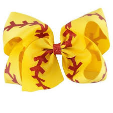 softball ribbon 5pcs lot large 7 glitter softball ribbon bows with clip