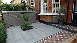 victorian mosaic tile path yellow brick front garden wall