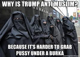 Burka Meme - why is trump anti muslim because it s harder to grab pussy under