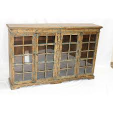brown distressed black distressed blue glass front bookcase h 040 1